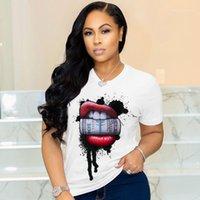 Yeni Kadın Yaz Tops Dudaklar Dolar Kadınlar Tshirt Rahat Kısa Kollu O Boyun Katı Renk Gevşek Tees