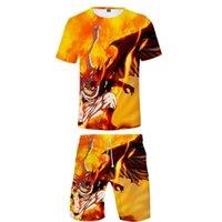 Men's Tracksuits Fairy Tail Jogging Homme 3d Summer Two Piece Set Men Clothes T Shirt+short Pants Sets Cartoon Sports Harajuku Streetwear