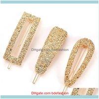 Clips & Barrettes Jewelry Jewelrywomen Shining Clip Gold Hairpin Headwear Women Slide Grips Barrette Pin Hair Aessories For Girls Drop Deliv