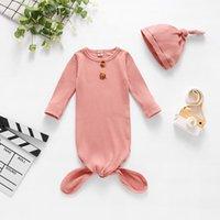Младенческий спальный мешок Newborn Baby Swarddle Booket Hat 2 шт. Wrap Tape Toddler Хлопок Мультфильм Спальные Мешки Фотографии Опора 720 x2