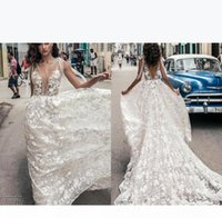 Cuba African Sexy Deep V Neck Backless Wedding Dresses Full Lace Floral Appliques Wedding Dress Beach Bridal Gowns