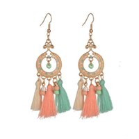 Silver Color Tassel Earrings Colourful Earring Hook Bohemia Party Jewlery Wholesale Womens Girls Gift Drop Dangle & Chandelier