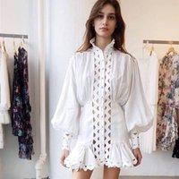 2019 Spring Elegant Women White Turtleneck Lace Mini Dress Runway Designer Hollow Out Lantern Sleeve Female Party Dress Clothes