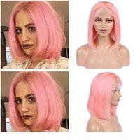 페루 핑크 컬러 인간의 머리 전체 레이스 가발 스트레이트 짧은 밥 가발 여성을위한 골드 레이스 프론트 가발 130 밀도 표백 매듭