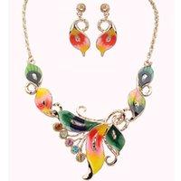 Бабочка ожерелье серьги наборы сплава золото красочный цветок дизайн ювелирные изделия шпильки кулон очарование Champer для девушек женщин подарок