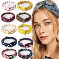 Free DHL Women's Fashion Retro Wave Dot Printing Wide Brim Cross Hairband Sweet And Simple Headscarf Elastic Hair Band Headband
