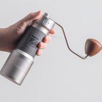 Além do moedor de café manual com ímãs pegar copo moinho para derramar sobre o espresso de aço inoxidável heptagonal cônico burr moedores