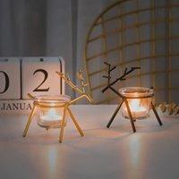 Talight Reindeer Vela Topes de velas Decoraciones de la boda de metal Candlestica de cristal Candelabra creativa Navidad para el hogar