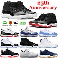 Yüksek Moda 25th Yıldönümü 11s 11 Basketbol Ayakkabı Concord 45 Uzay Reçel Düşük Legend Mavi Beyaz Bred Yılan Donanma Sneakers Erkek Kadın Eğitmenler