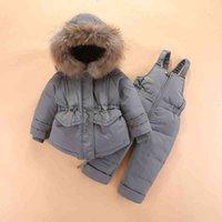 2021 Олекид зима пуховик пуховик меховой воротник Пальто теплых комбинезон малышка съемок 1-4 лет детей малышей комбинезон одежды