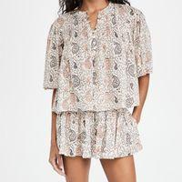 Women 21ISABEL MARANT shirts vintage flower print fluffy sleeves fold shirt pleated skirt High-quality temperament classic