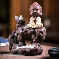 Sachet Bags Pequeno Buddha BackFlow Incenso Burner Cachoeira Cachoeira Handmade Censador Cerâmica para Decoração de Escritório Home Budista