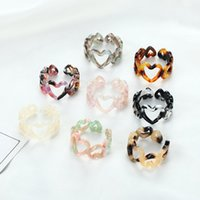 Fashion leopard print Resin Acrylic Hollow Heart Chain Ring For Women Colourful Geometric Rings Jewelry Gifts