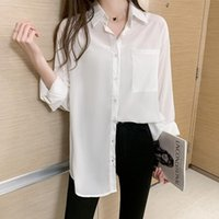 Plus Size Women White Blouses 2021 Spring Summer Transparent Blouse Long Sleeve Loose Pocket Shirts Tops Oversized Blusas Mujer Women's &