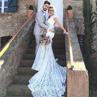 Vintage Lace Mermaid Wedding Dresses 2021 Sexy Deep V-neck Open Back Short Cap Sleeves Court Train Bridal vestidos de novia