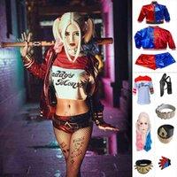 Costumes de cosplay suicide Harley Squad Quinn Cos Broderie Manteau T-shirt Accessoires Ensemble complet Robe de soirée Halloween