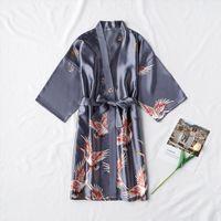 Moda Satin Robe Szlafrok Seksowna Kobiety Penigoir Femme Silk Kimono Bride Dressing S Gown Night Rosną Dla Dziewczyn
