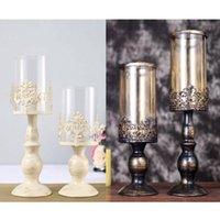 Vintage Romántico Estilo Nórdico Vela Soporte de Vidrio Tall Candlestick Metal Crafts Home Boda Decoración Decoración Titulares