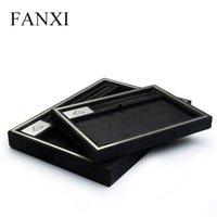 Alta Qualidade Jóias Exibir adereços de jóias de veludo preto apartamento mostrando bandeja jewellry titular caixas de armazenamento caixa de metal