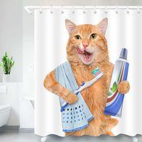 Lustige Tierkatze Druck Duschvorhang Wasserdichter Polyestergewebe Waschbare Badezimmer Dekor Badvorhänge mit 12 Haken