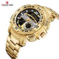 Wristwatches MIZUMS Luxury Gold Mens Watch Full Steel Military Wristwatch Digital Sport Watches Men Waterproof Quartz Clock Relogio Masculin