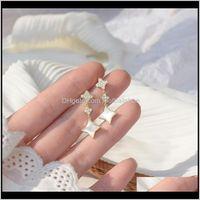 Jewelryromantic 14K Real Gold Plated Shell Flower Stud Japanese&Korea Delicate Jewelry Zircon Star Earrings Drop Delivery 2021 E2Ruk
