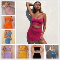 Zwei Stück Kleid Sommer Frauen Kleider + Top ärmellosen Plissee Knick 2 Pic Set Rock Anzug Damen Kleidung Plus Größe S / M / L / XL