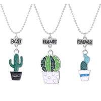 Collares de cactus de moda para niños al por mayor de mujeres amigos collar inicial BFF Regalos de Navidad Colgante