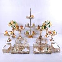 3 pcs-13pcs bolo stand conjunto bonito bandeja 3 camada ouro cupcake dessert display decoração ferramentas de casamento cristal espelho acrílico outro bakeware