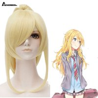 Wigs Anogol Long Dity DROITS Vos mensonges En Avril Miyazono Kaori Gold Blond Clip Horse Start Synthetic Cosplay perruque pour Halloween