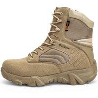 Sapatos de vestido Homens Botas de couro impermeável Mountain Combat Exército Trabalho Tático militar de Seguridad Plus Size40-47 T1DR