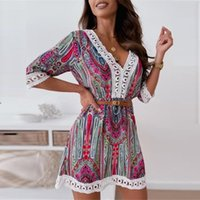 Casual Dresses Ladies Seaside Beach Dress Summer Sexy Printed Bohemian Style V-Neck A-Line Lace Sleeve High Waist