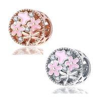 Se adapta a PANDORA Pulsera de plata esterlina 20pcs Space Flower Butterfly Beads Crystal Beads Spacer Charms para la serpiente europea Charm Chain Fashion DIY Joyería al por mayor