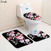 Zeegle Цветок Печатные 3 ШТ. / Установить нескользящая туалетные коврики Фланалель для ванной Абсорбирующая ванна Ковер