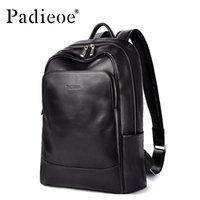 Backpack Padieoe Men Bookbag Mens Bag Genuine Leather Luxury College Back Pack Fashion Waterproof Travel Luggage Laptop