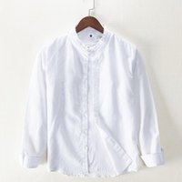 Suehaiwe's Brand Italy Shirt Lino Biancheria da uomo Casual Stand Collar Camicie bianche per comodi moda Moda Mens Chemise Camisa Uomo