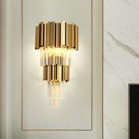 Crystal Wall Lamps Led Gold Bedsides Lights For Bedroom Living Room AC 110V 220V Sconce Indoor Light Fixtures