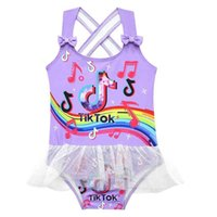 Girls summer swimwear one piece tik tok fashion 2021 swimsuit TikTok mesh patchwork bikini kids bow strape swim beach wear dress princess skirt G4YRMMB