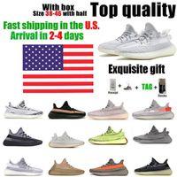 In magazzino statunitense Kanye west scarpe da corsa di alta qualità Yecheil Cinder statico argilla coda coda di coda di coda bianca nero nero rosso zebra sneakers uomini donne 38-46 mezza dimensione con scatola
