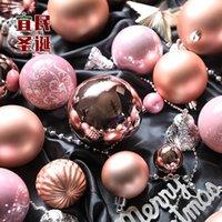 Fabrika Outlet Partisi Dekorasyon Tayvan Yeni Gül Altın Pembe Parlak Mat Noel Topu 3-15 cm Süsleme Ağacı Kolye