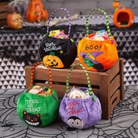 Halloween Party Kids Pumpkin Trick Or Treat Tote Bags Candy Bag Storage Bucket Portable Gift Basket DWF10469