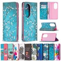 Magnetischer Verschluss Leder Brieftasche Hüllen für Samsung Galaxy S21 FE Lite A02 M02 A32 4G Huawei P50 Pro Druck Blume Schmetterling Cartoon Saugen Halter Flip Cover Girl Lady