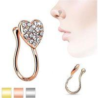 ثقب حلية القلب الأنف مسمار الأنف الدائري مجموعة مع الماس القلب نمط جديد الأنف حلية لا ثقب خاتم الدائري ثلاثة حزم 603 z2