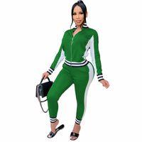 Women Tracksuits 2 Pieces Set Designer Zipper Long Sleeve Striped Stitching Jacket & Leggings Outfits Fashion Plus Size Sportwear