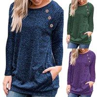 Femmes Couleur Solide Manches à manches longues Couche à manches décontractées Pulls de loisirs Chemisier Knitwear Pulls pour femmes