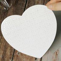 Puzzles en forme de coeur blanc 75pieces Sublimation Blank Perle Jigsaw Bricolage Puzzle De Mariage Anniversaire Saint Valentin La fête de la fête de la fête HWC7211