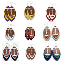 Softball Leather Teardrop Earrings Soft Ball Baseball Football Volleyball Basketball Leaf Leather Teardrop Dangle Drop Earrings