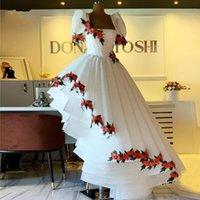 asymmetric skirt Saudi Arabia Irregular Prom Dresses flower Newest Lace Embroidery Pleated Short Sleeves Chic Evening Dress Dubai Arabic Women Robe