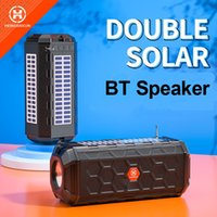 Double Solar Charge Speaker with Flashlight BT Portable Wireless Stereo Loudspeaker Soundbox Supports FM Radio USB disk TF MP3 Music Player Waterproof Sound Bar