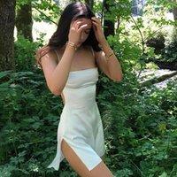 Rayon Suspender Dress Women Solid Mini Summer Sundress 2021 Sexy Outfits Split Part Clubwear Backless Adjustable Streetwear New